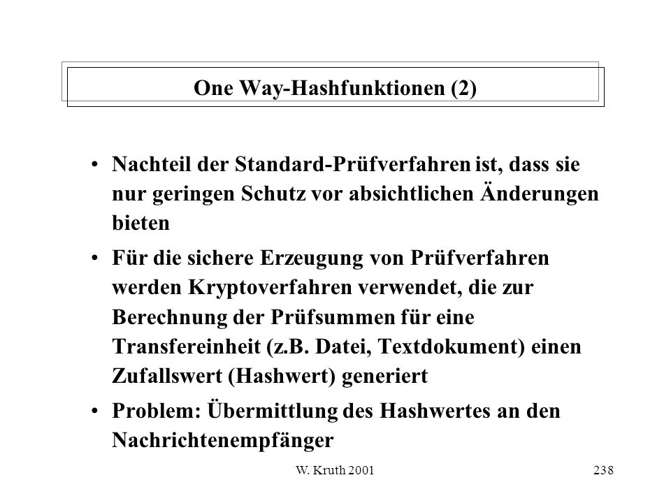 One Way-Hashfunktionen (2)