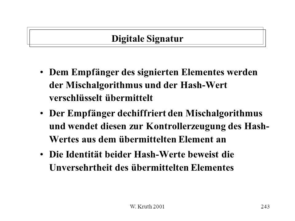 Digitale Signatur Dem Empfänger des signierten Elementes werden der Mischalgorithmus und der Hash-Wert verschlüsselt übermittelt.