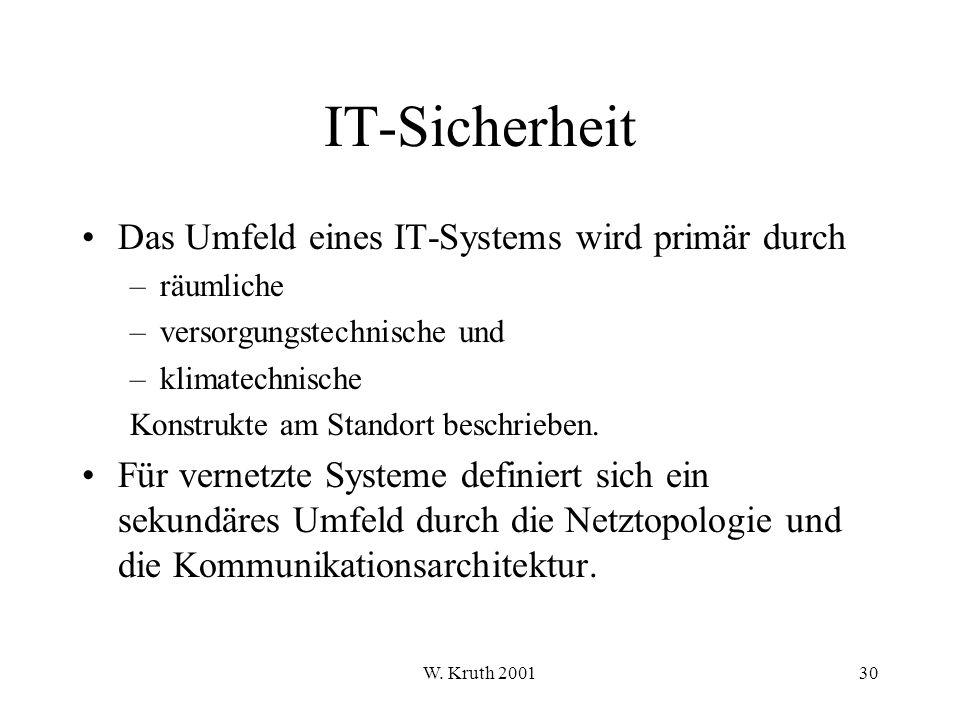 IT-Sicherheit Das Umfeld eines IT-Systems wird primär durch