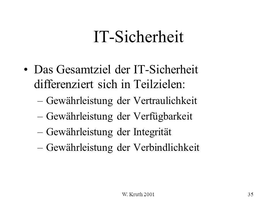 IT-Sicherheit Das Gesamtziel der IT-Sicherheit differenziert sich in Teilzielen: Gewährleistung der Vertraulichkeit.