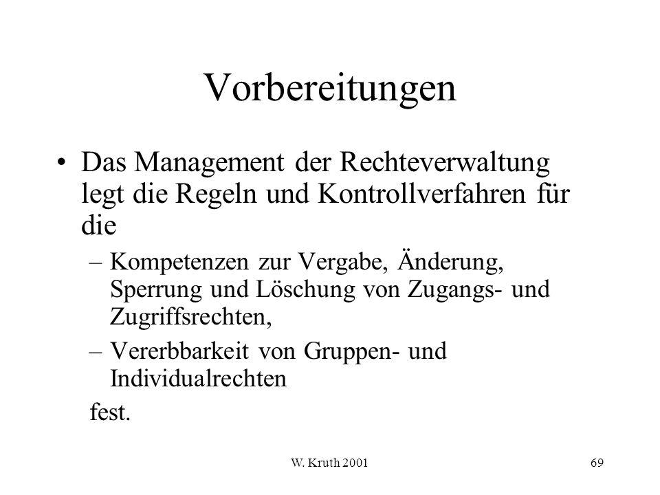 Vorbereitungen Das Management der Rechteverwaltung legt die Regeln und Kontrollverfahren für die.