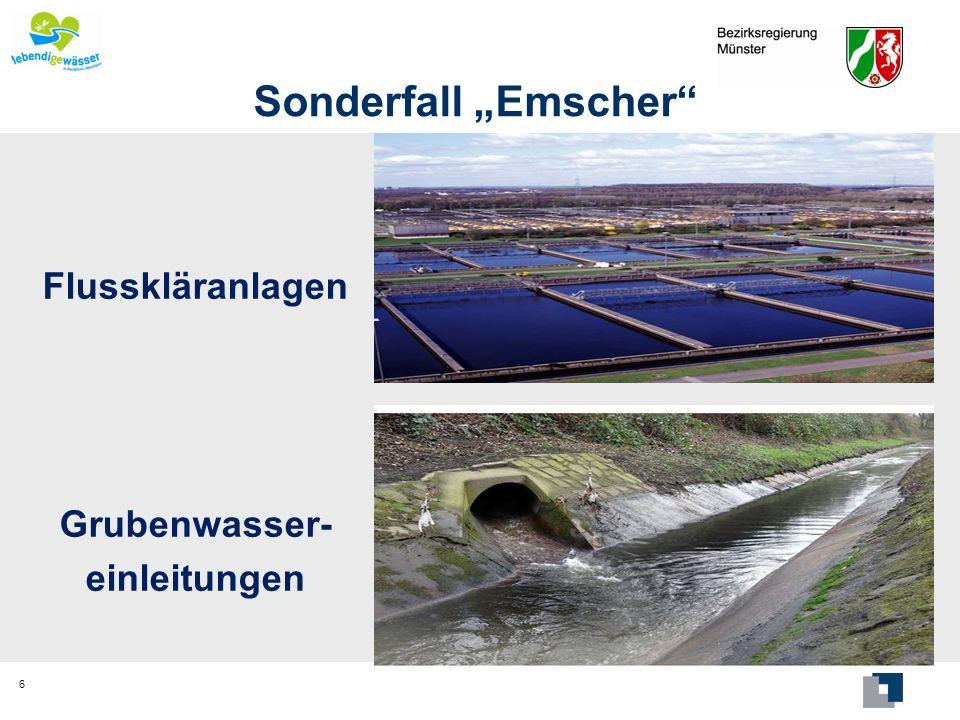 """Sonderfall """"Emscher Flusskläranlagen Grubenwasser- einleitungen"""