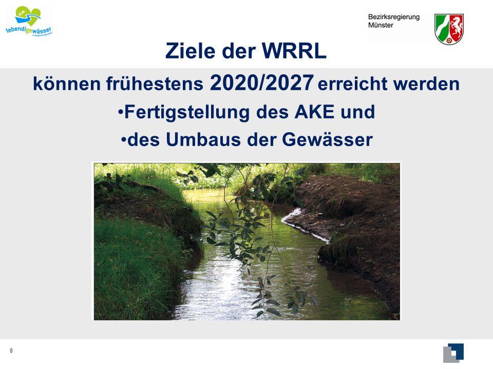 Ziele der WRRL können frühestens 2020/2027 erreicht werden
