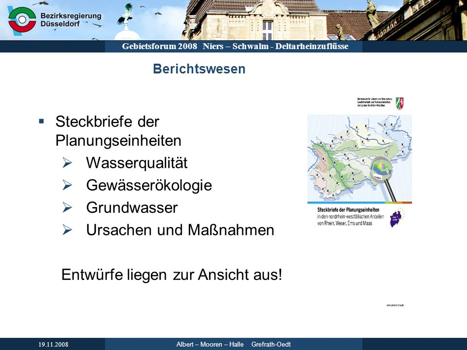 Steckbriefe der Planungseinheiten Wasserqualität Gewässerökologie