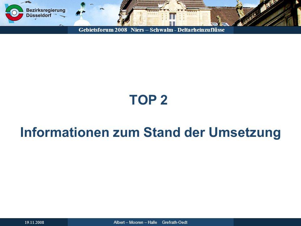 TOP 2 Informationen zum Stand der Umsetzung
