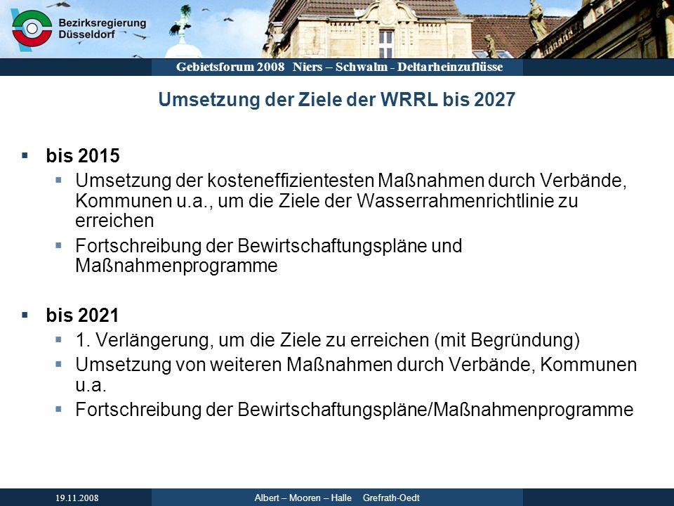 Umsetzung der Ziele der WRRL bis 2027