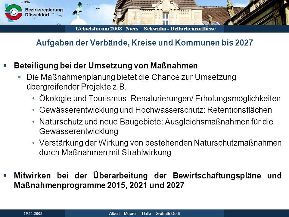 Aufgaben der Verbände, Kreise und Kommunen bis 2027