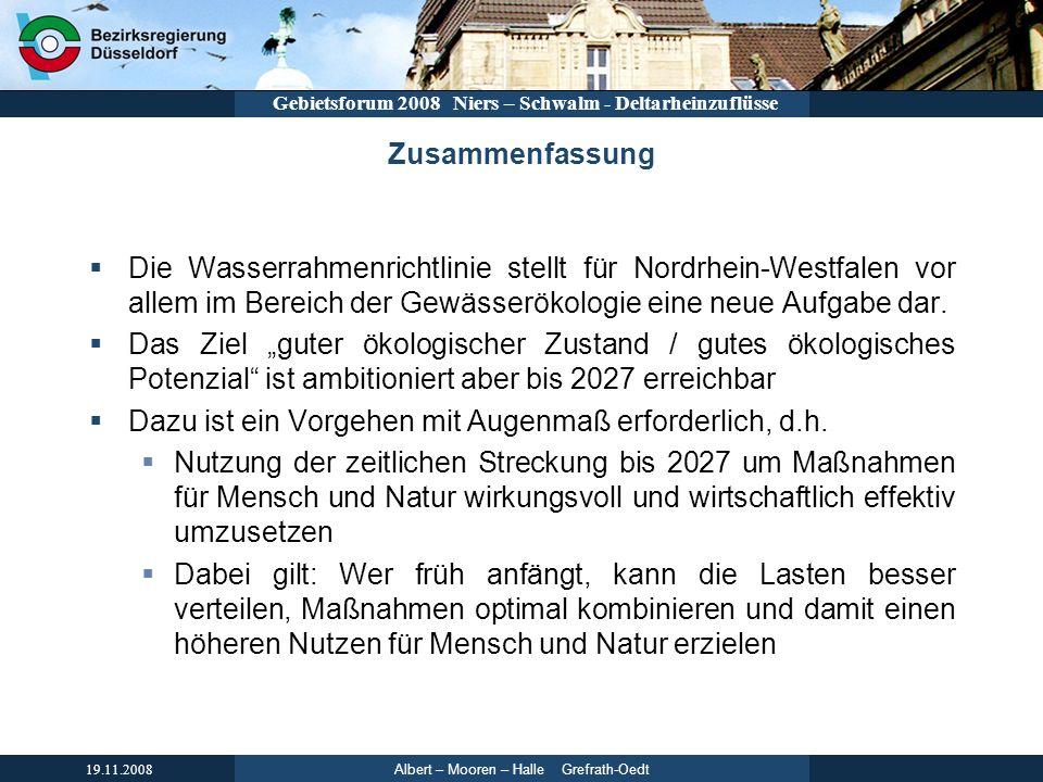 Zusammenfassung Die Wasserrahmenrichtlinie stellt für Nordrhein-Westfalen vor allem im Bereich der Gewässerökologie eine neue Aufgabe dar.