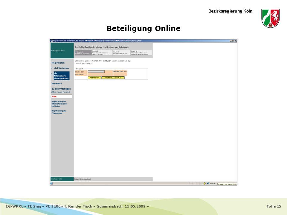 Beteiligung Online EG-WRRL – TE Sieg – PE 1200 - 4. Runder Tisch – Gummersbach, 15.05.2009 –