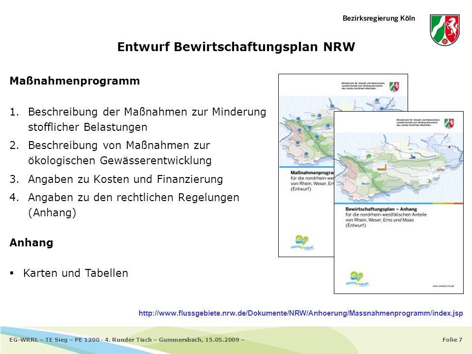 Entwurf Bewirtschaftungsplan NRW