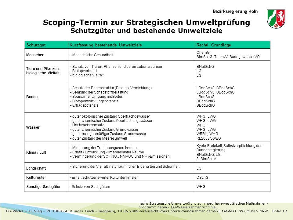 Scoping-Termin zur Strategischen Umweltprüfung Schutzgüter und bestehende Umweltziele