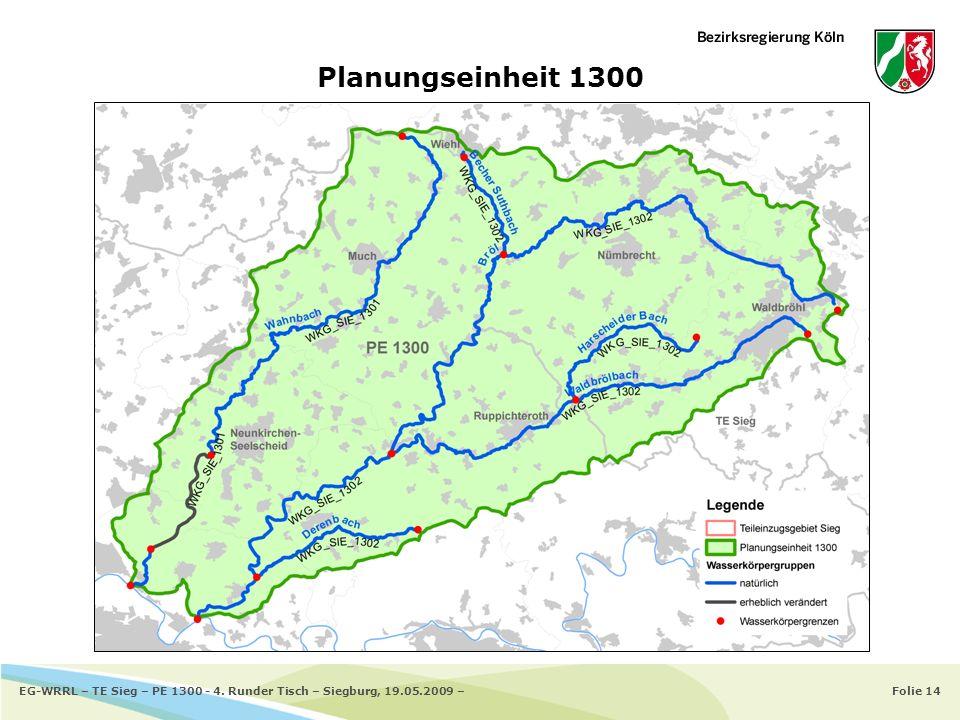 Planungseinheit 1300 EG-WRRL – TE Sieg – PE 1300 - 4. Runder Tisch – Siegburg, 19.05.2009 –