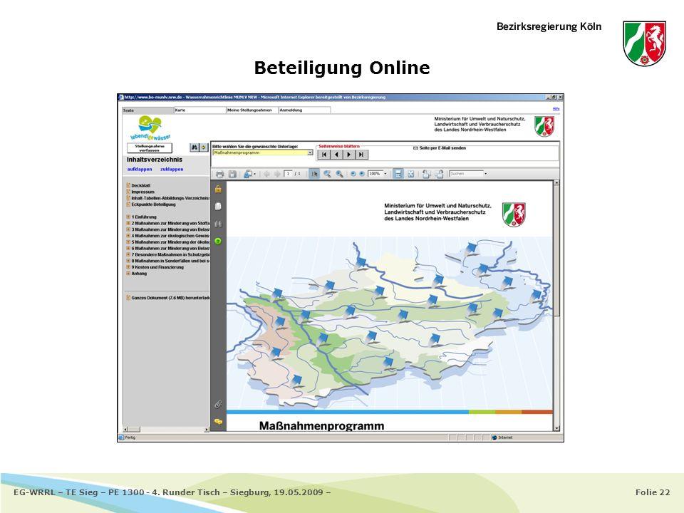 Beteiligung Online EG-WRRL – TE Sieg – PE 1300 - 4. Runder Tisch – Siegburg, 19.05.2009 –