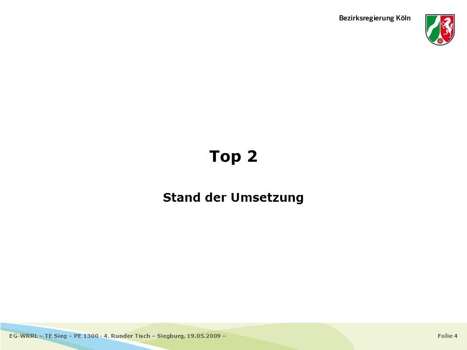 Top 2 Stand der Umsetzung