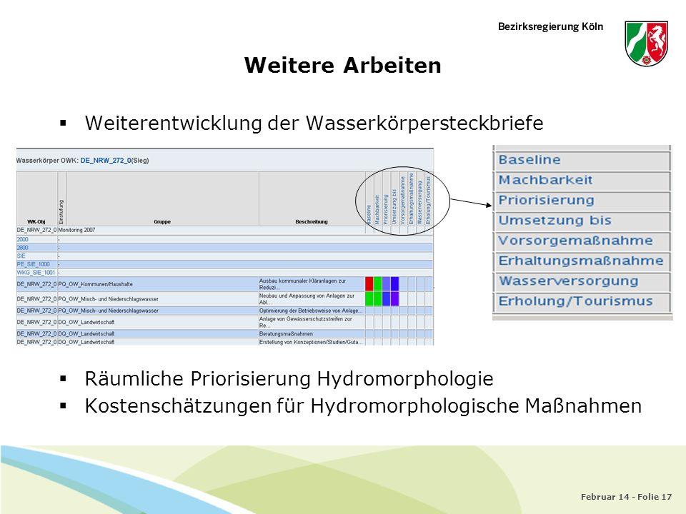 Weitere Arbeiten Weiterentwicklung der Wasserkörpersteckbriefe