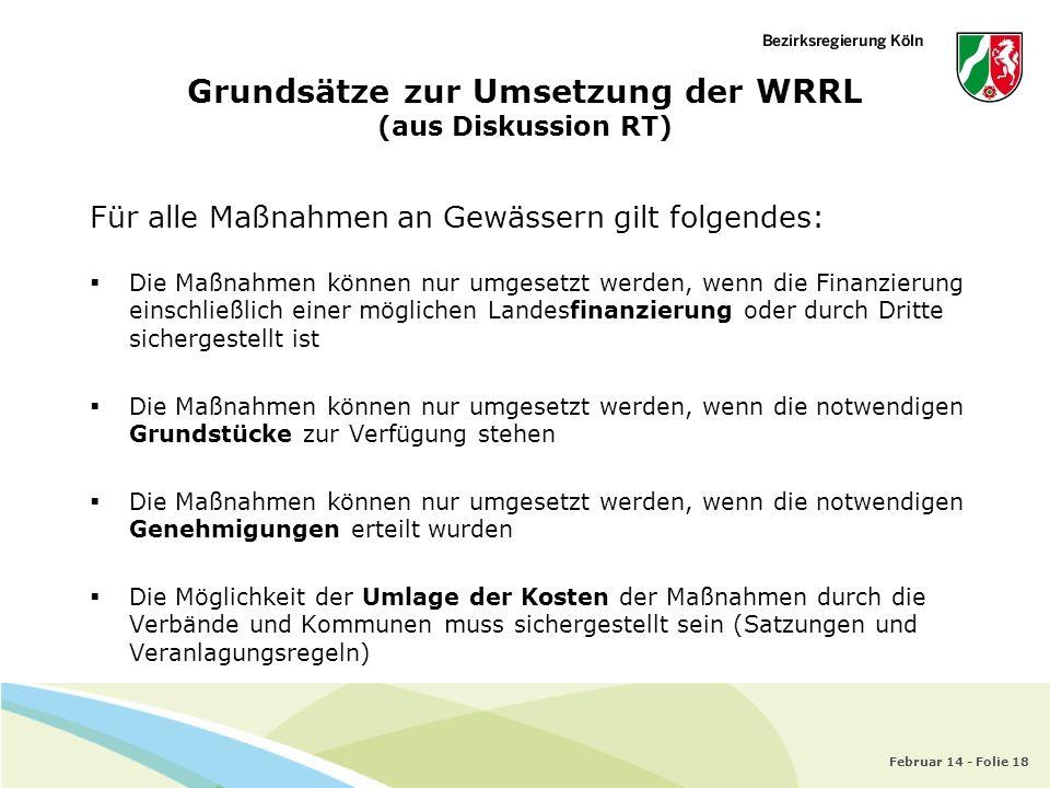 Grundsätze zur Umsetzung der WRRL (aus Diskussion RT)