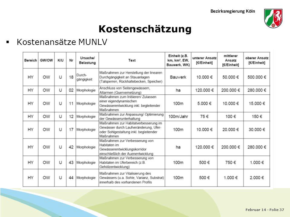 Kostenschätzung Kostenansätze MUNLV