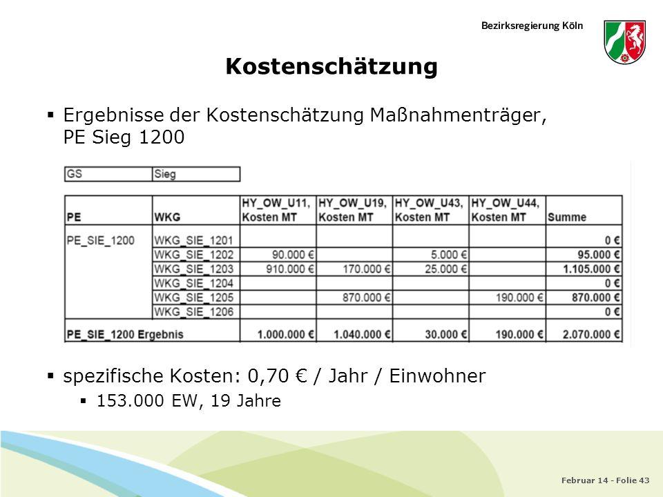 Kostenschätzung Ergebnisse der Kostenschätzung Maßnahmenträger, PE Sieg 1200. spezifische Kosten: 0,70 € / Jahr / Einwohner.