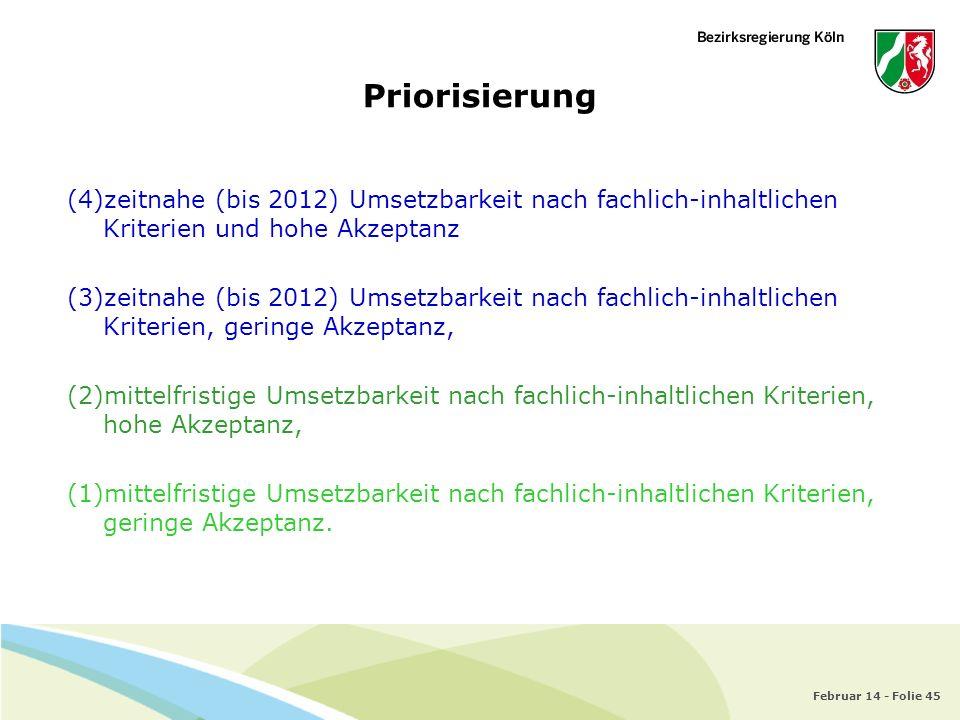 Priorisierung zeitnahe (bis 2012) Umsetzbarkeit nach fachlich-inhaltlichen Kriterien und hohe Akzeptanz.