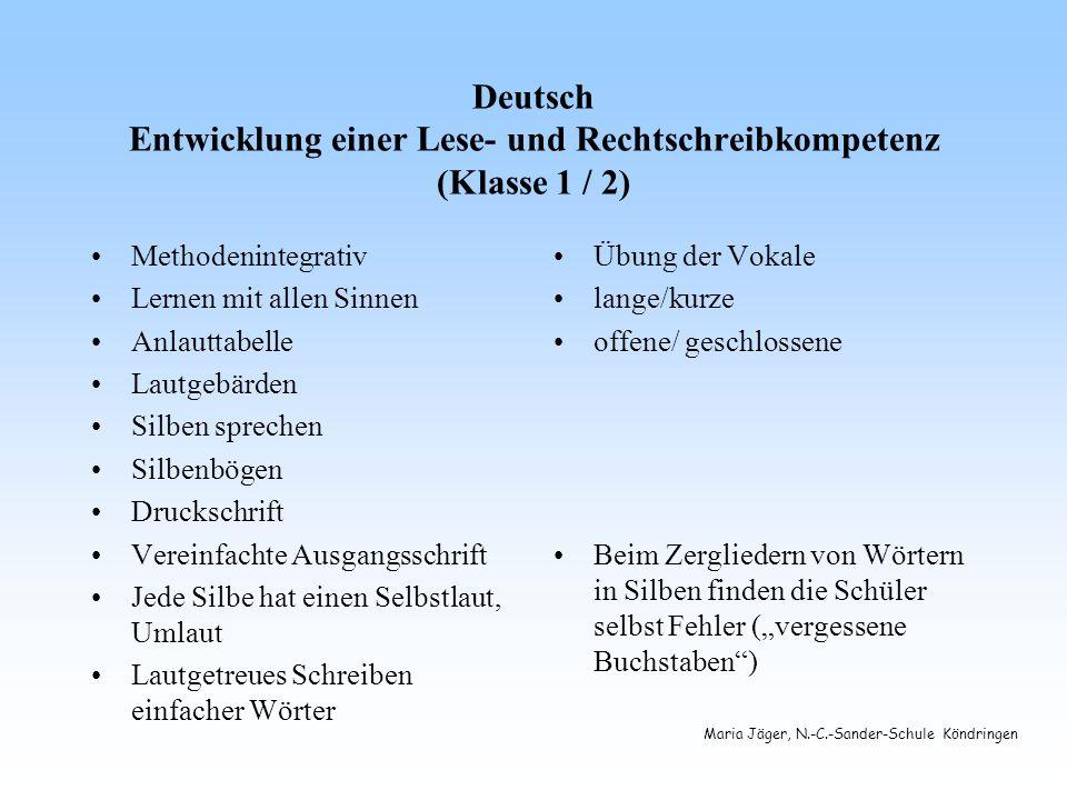 Deutsch Entwicklung einer Lese- und Rechtschreibkompetenz (Klasse 1 / 2)