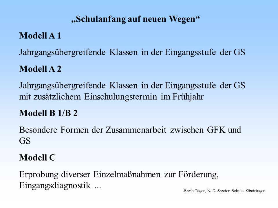 """Schulanfang auf neuen Wegen"