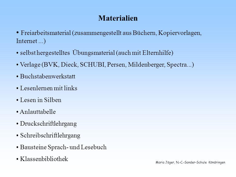 Materialien Freiarbeitsmaterial (zusammengestellt aus Büchern, Kopiervorlagen, Internet ...)