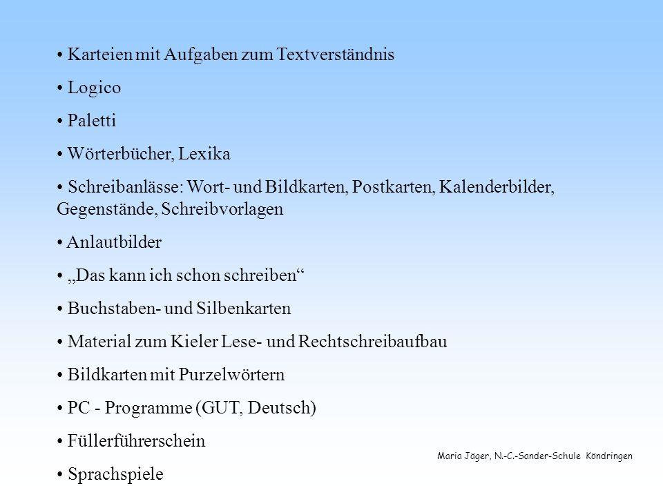Karteien mit Aufgaben zum Textverständnis Logico Paletti