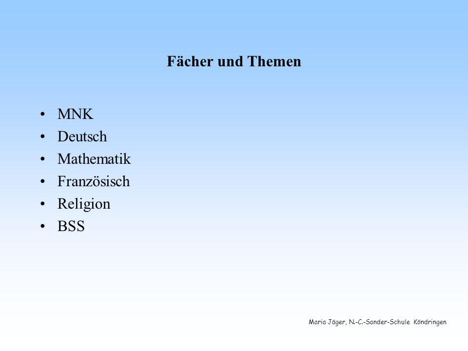 Fächer und Themen MNK Deutsch Mathematik Französisch Religion BSS