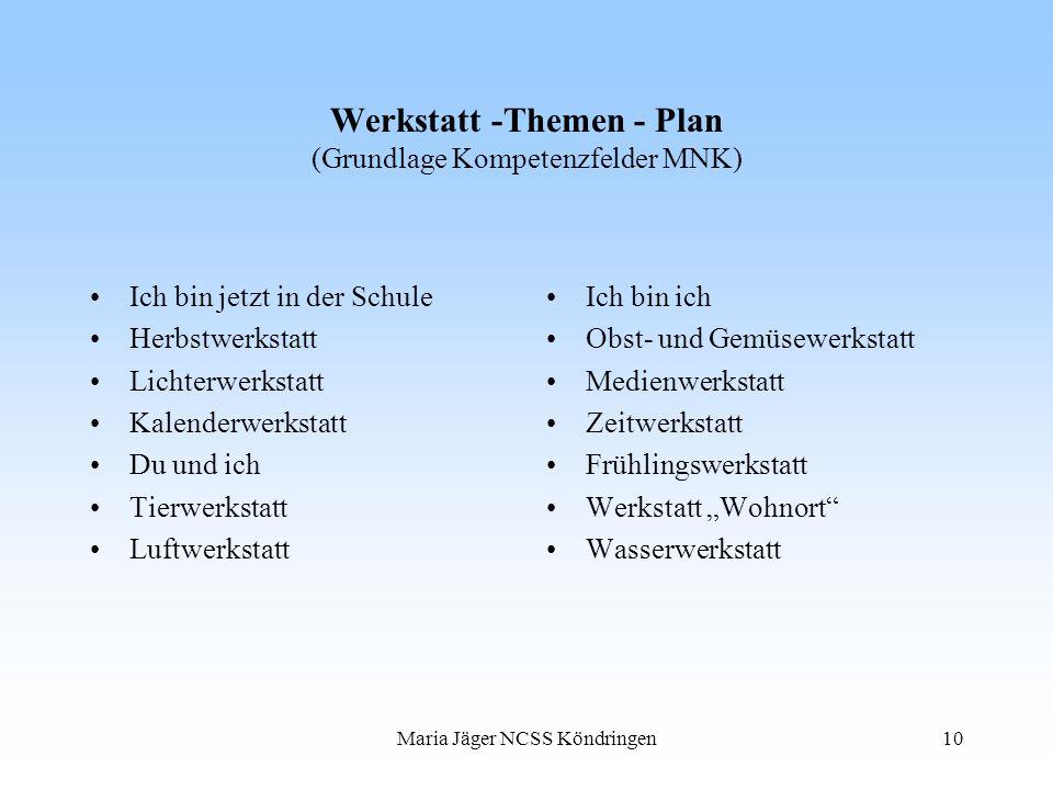 Werkstatt -Themen - Plan (Grundlage Kompetenzfelder MNK)