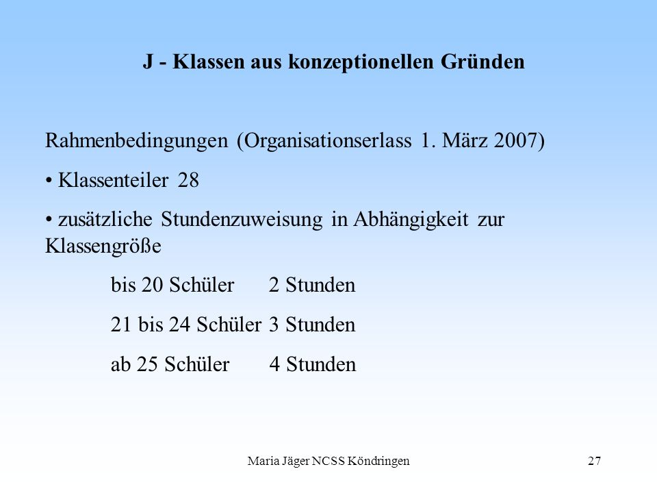J - Klassen aus konzeptionellen Gründen