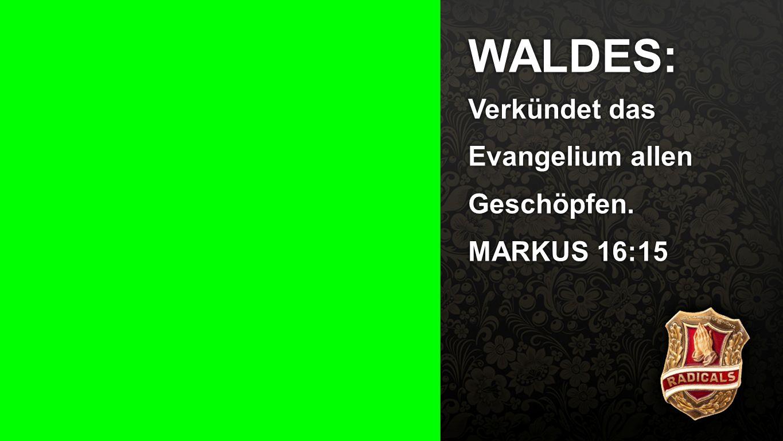 WALDES: Verkündet das Evangelium allen Geschöpfen.