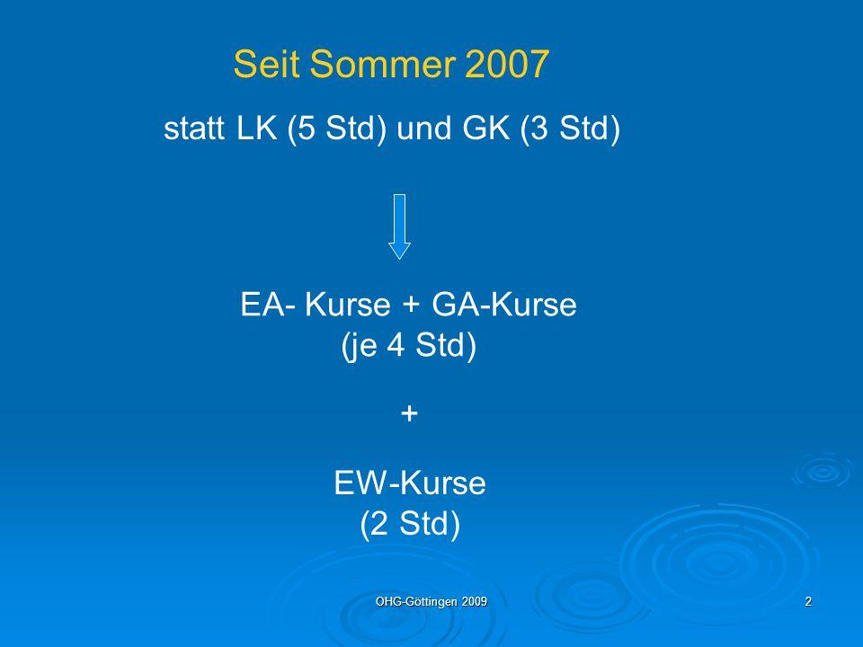 statt LK (5 Std) und GK (3 Std)