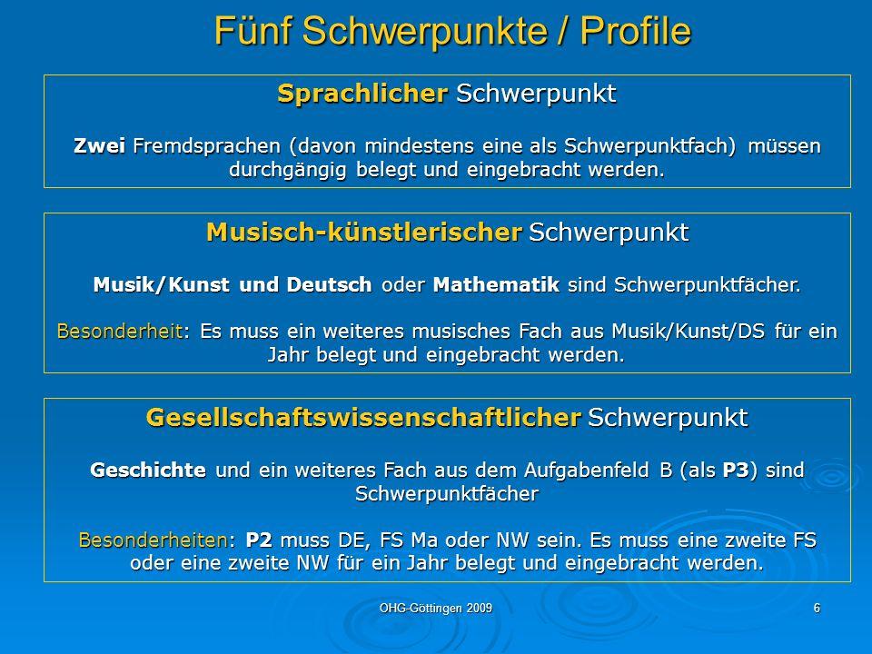 Fünf Schwerpunkte / Profile