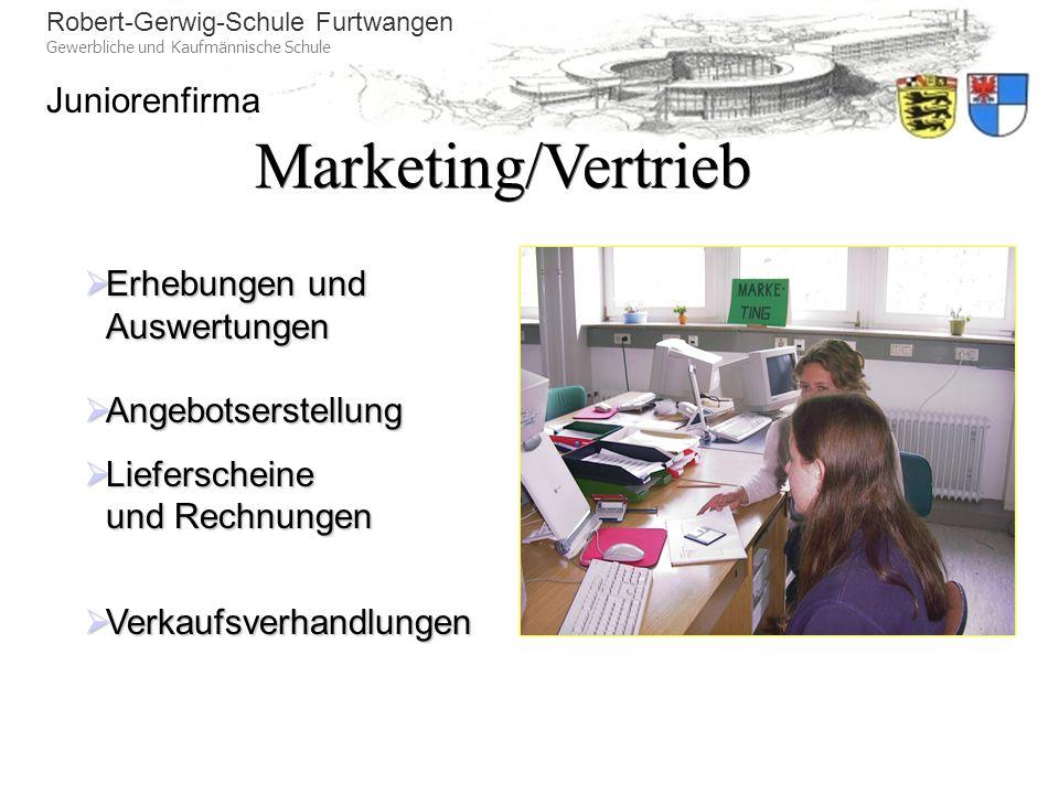 Marketing/Vertrieb Erhebungen und Auswertungen Angebotserstellung
