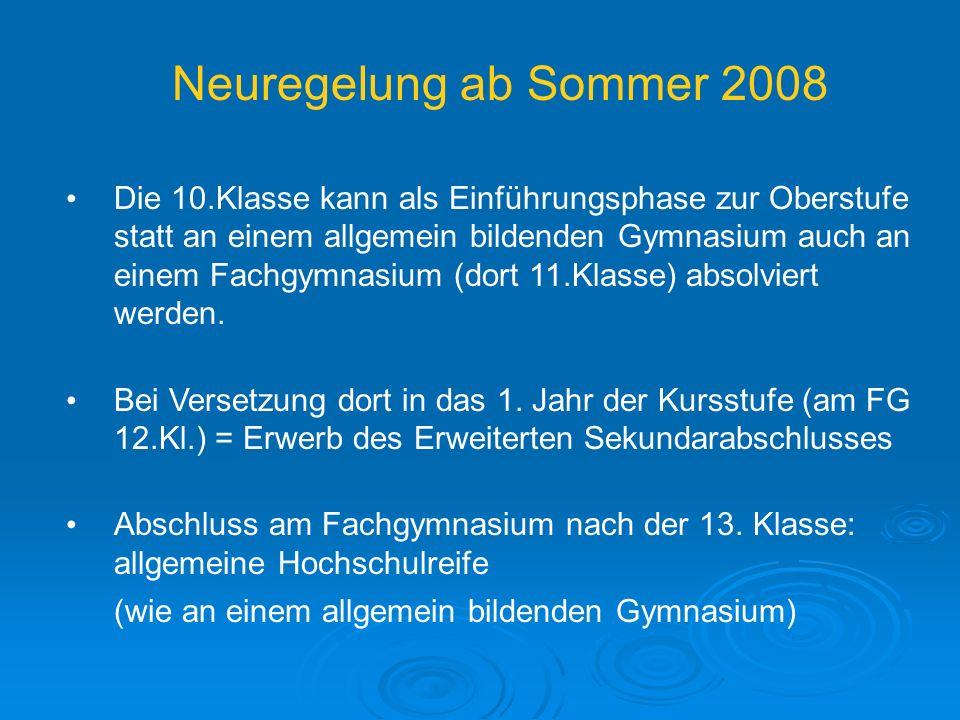 Neuregelung ab Sommer 2008