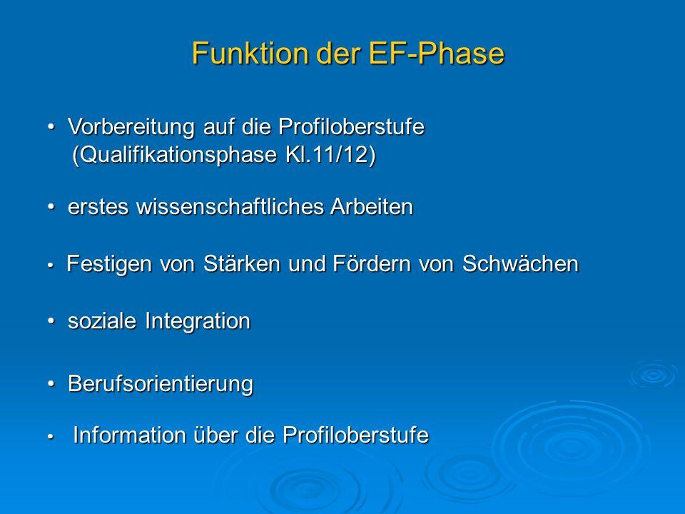 Funktion der EF-Phase Vorbereitung auf die Profiloberstufe (Qualifikationsphase Kl.11/12) erstes wissenschaftliches Arbeiten.
