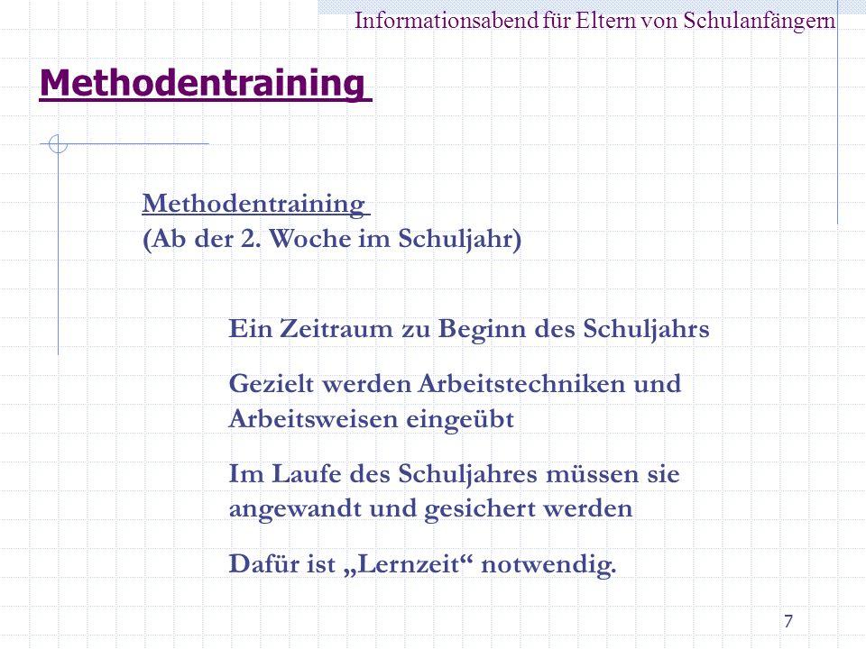Methodentraining Methodentraining (Ab der 2. Woche im Schuljahr)