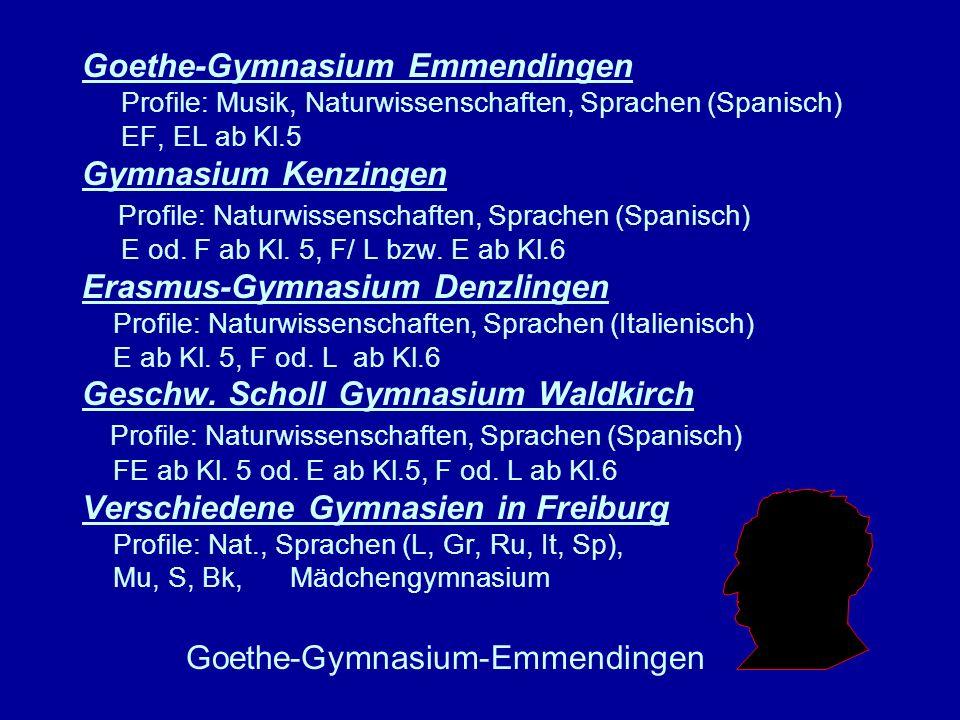 Goethe-Gymnasium Emmendingen Profile: Musik, Naturwissenschaften, Sprachen (Spanisch) EF, EL ab Kl.5 Gymnasium Kenzingen Profile: Naturwissenschaften, Sprachen (Spanisch) E od. F ab Kl. 5, F/ L bzw. E ab Kl.6 Erasmus-Gymnasium Denzlingen Profile: Naturwissenschaften, Sprachen (Italienisch) E ab Kl. 5, F od. L ab Kl.6 Geschw. Scholl Gymnasium Waldkirch Profile: Naturwissenschaften, Sprachen (Spanisch) FE ab Kl. 5 od. E ab Kl.5, F od. L ab Kl.6 Verschiedene Gymnasien in Freiburg Profile: Nat., Sprachen (L, Gr, Ru, It, Sp), Mu, S, Bk, Mädchengymnasium