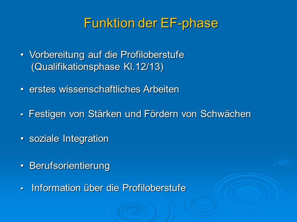 Funktion der EF-phase Vorbereitung auf die Profiloberstufe (Qualifikationsphase Kl.12/13) erstes wissenschaftliches Arbeiten.