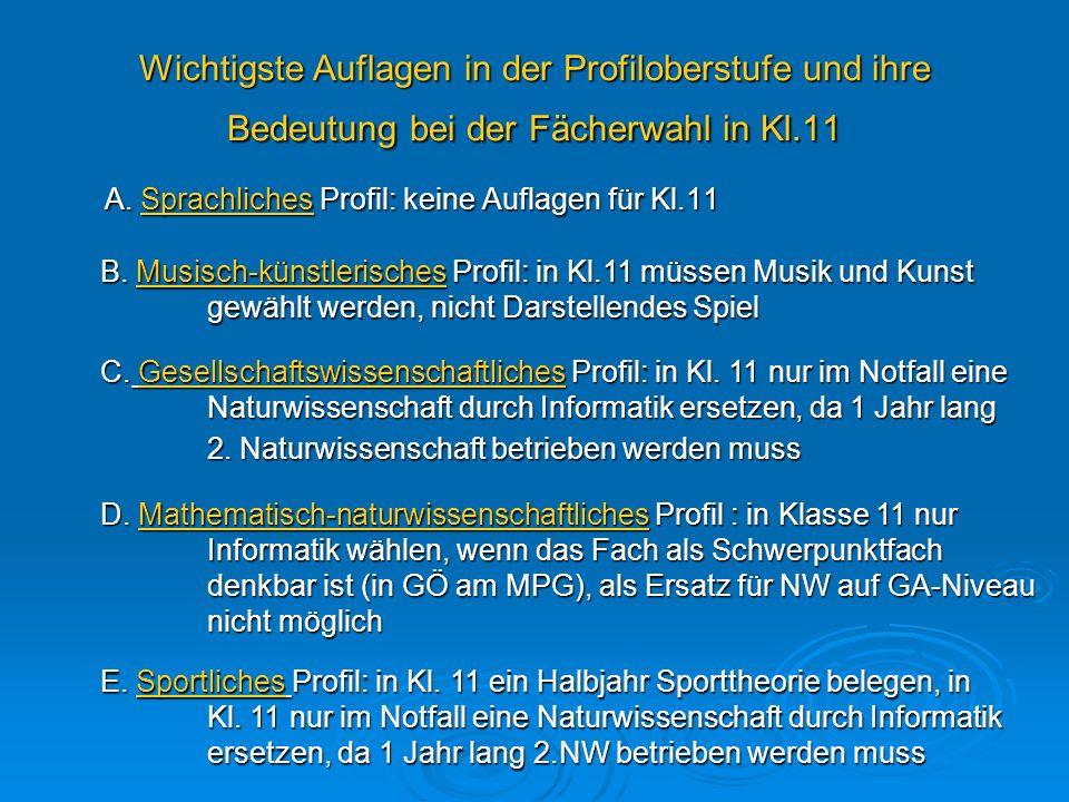 A. Sprachliches Profil: keine Auflagen für Kl.11