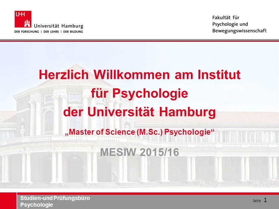 """Herzlich Willkommen am Institut für Psychologie der Universität Hamburg """"Master of Science (M.Sc.) Psychologie"""