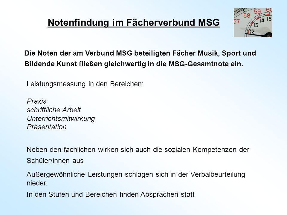 Notenfindung im Fächerverbund MSG