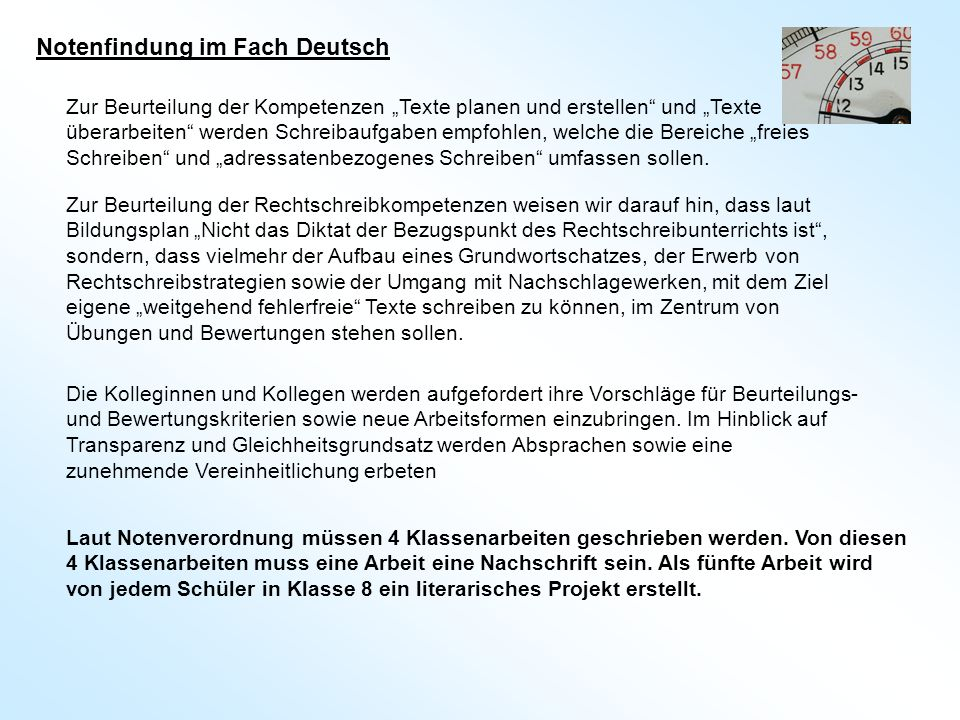 Notenfindung im Fach Deutsch