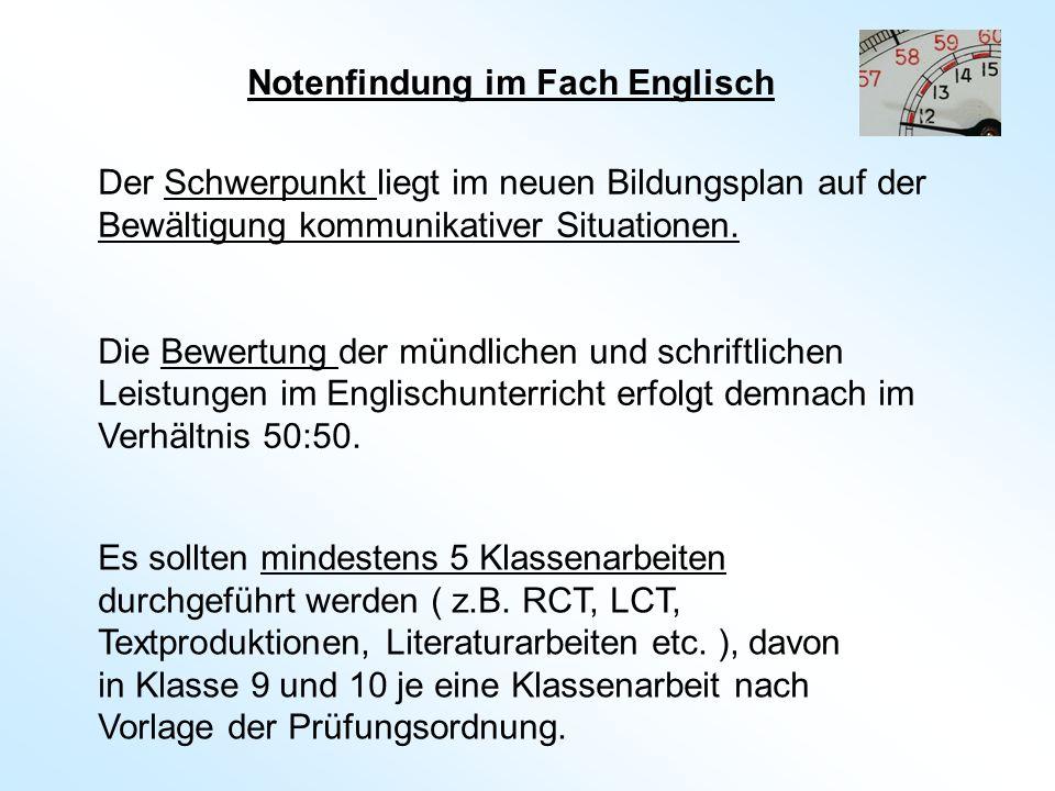 Notenfindung im Fach Englisch