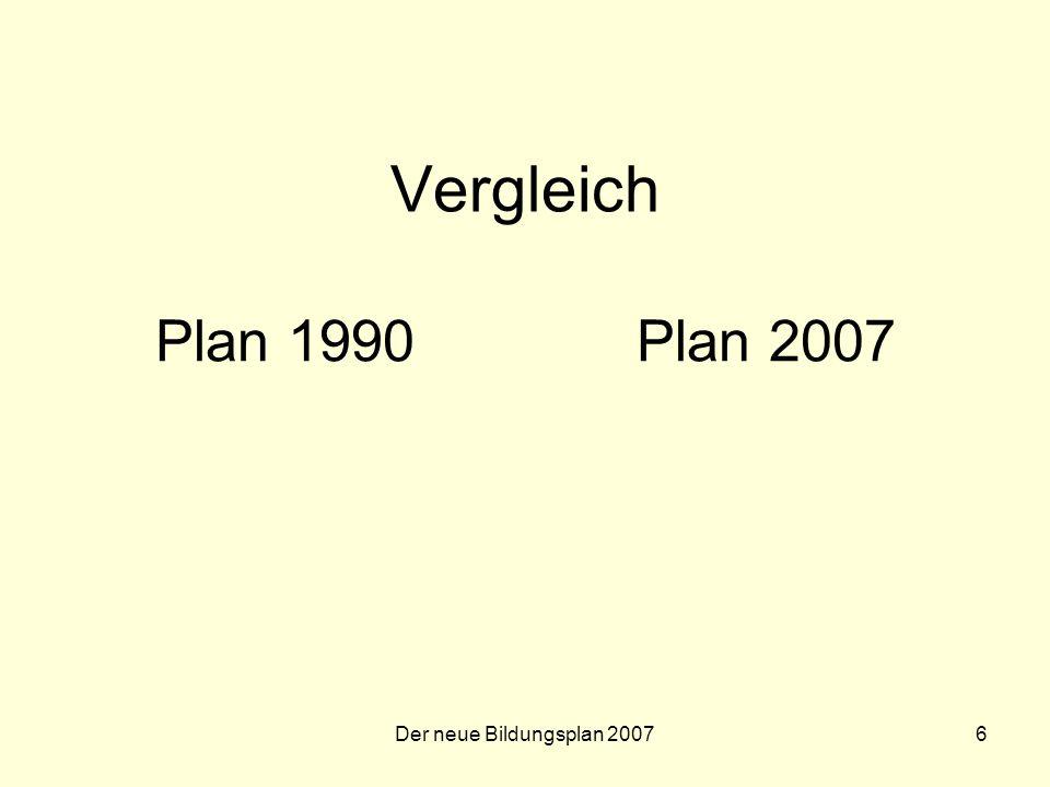 Vergleich Plan 1990 Plan 2007 Der neue Bildungsplan 2007