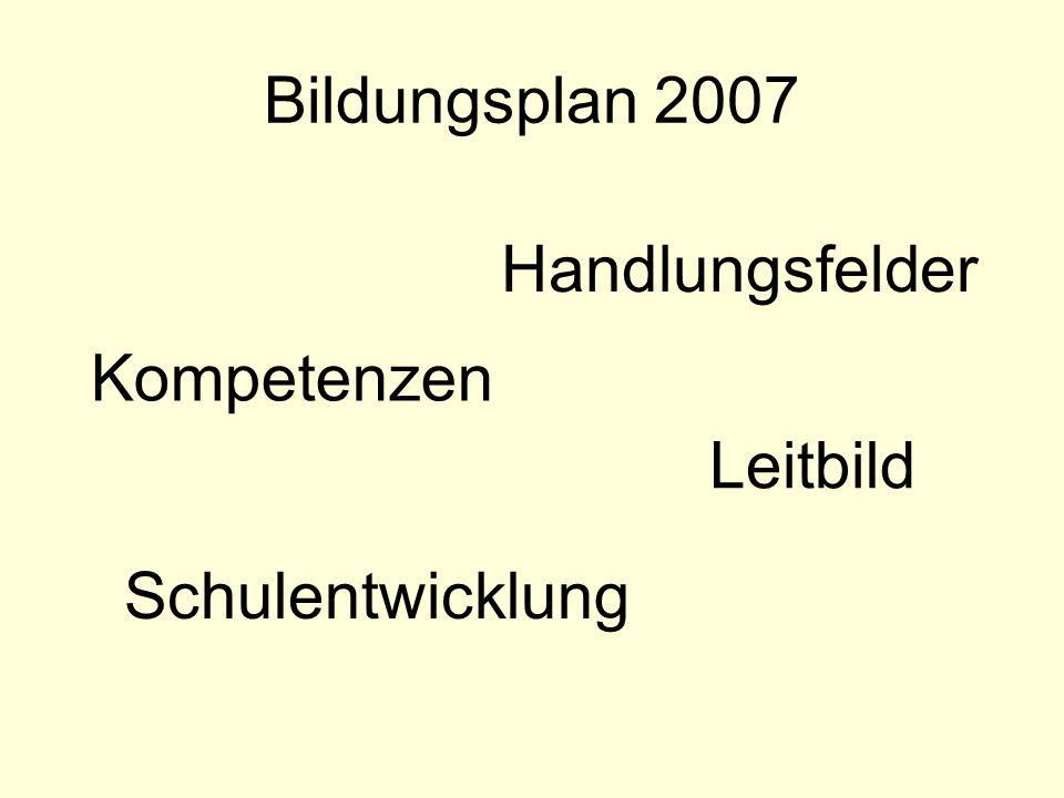 Bildungsplan 2007 Handlungsfelder Kompetenzen Leitbild Schulentwicklung