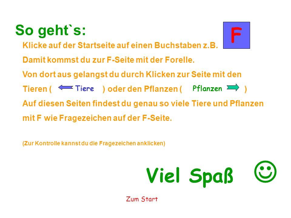 So geht`s: F. Klicke auf der Startseite auf einen Buchstaben z.B. Damit kommst du zur F-Seite mit der Forelle.