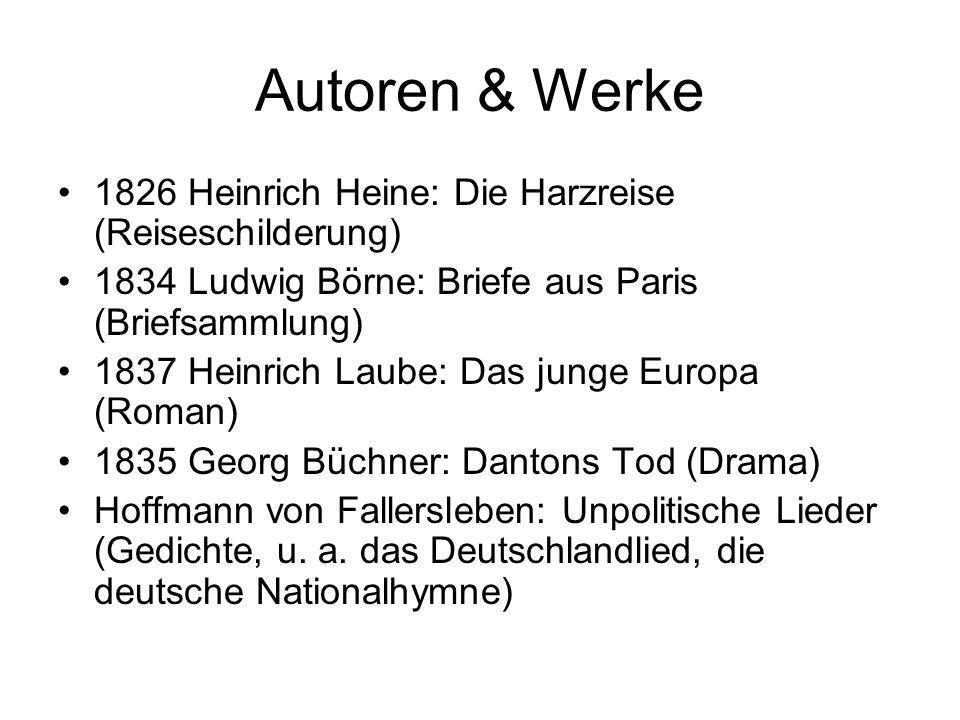 Autoren & Werke 1826 Heinrich Heine: Die Harzreise (Reiseschilderung)