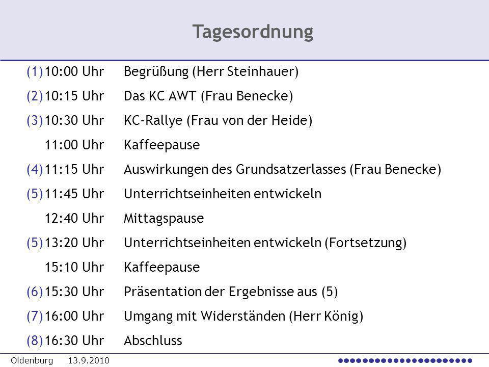 Tagesordnung (1) 10:00 Uhr Begrüßung (Herr Steinhauer)