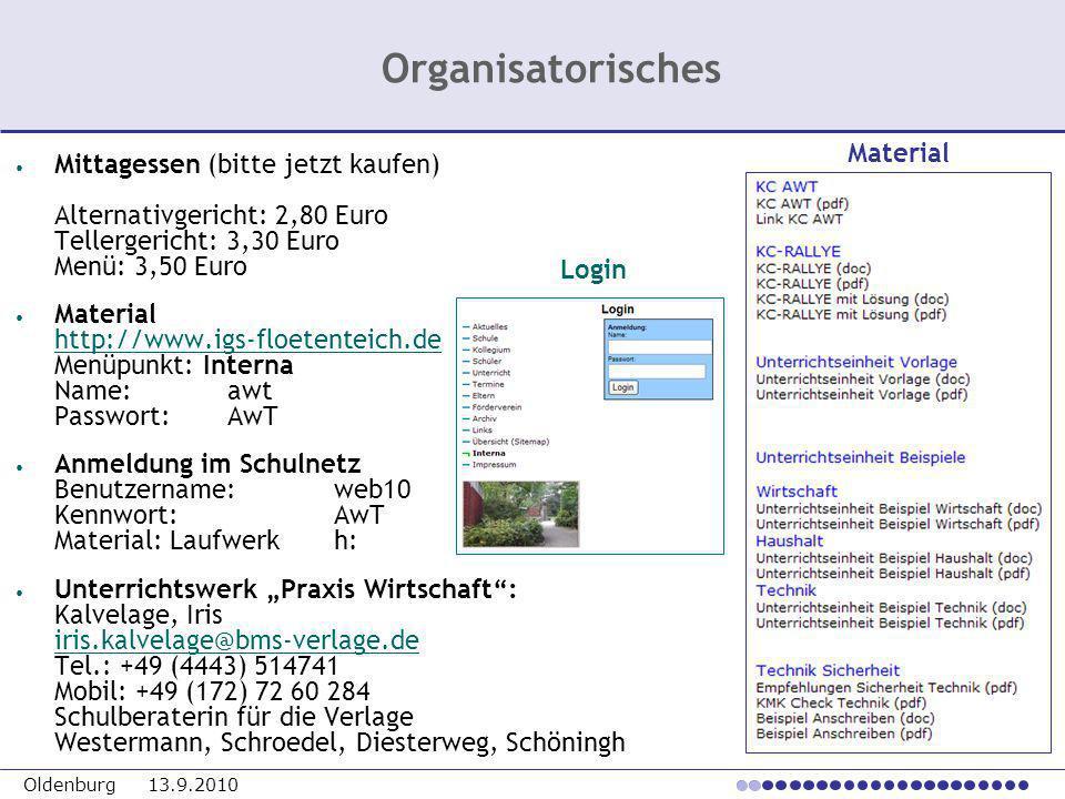 Organisatorisches Material